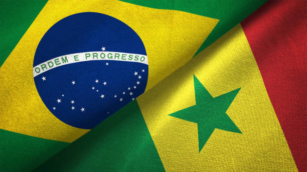 Senegal and Brazil flag together realtions textile cloth fabric texture